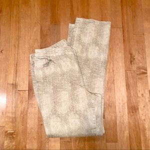 Chico's snake print jeans taupe size 2.5 (14)